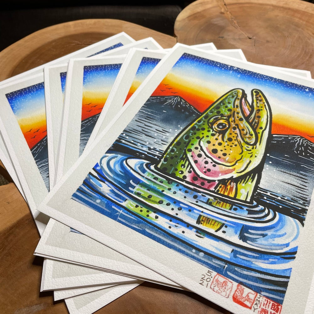 """'EARLY RISER' FINE ART RAINBOW TROUT FINE ART GICLEE PRINT LIMITED EDITION 11"""" X 14"""""""