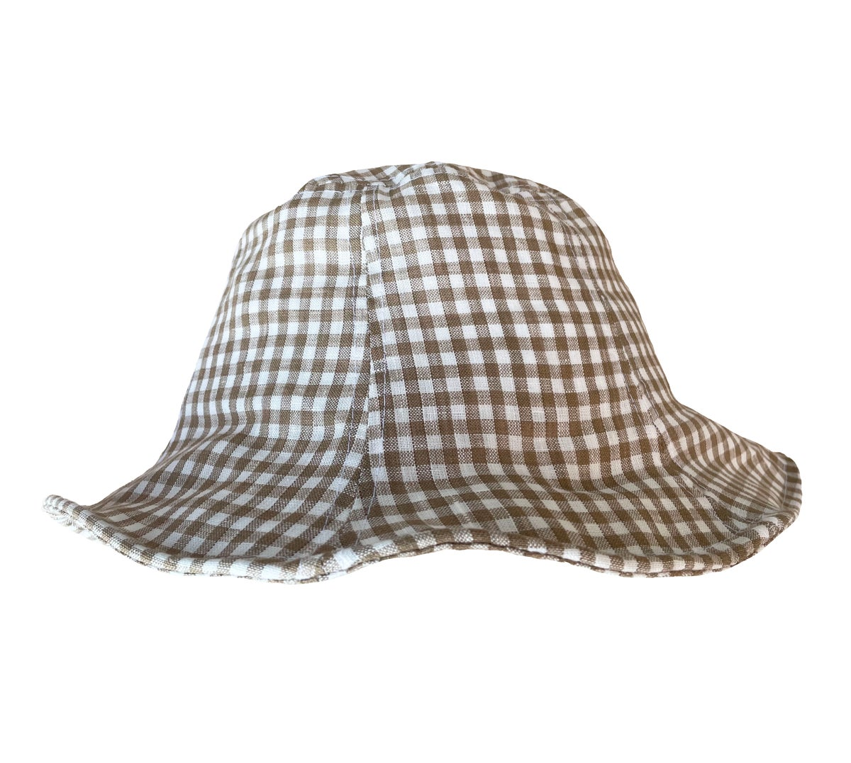 Image of Linen Sun Hat. Brown Gingham (was £22)