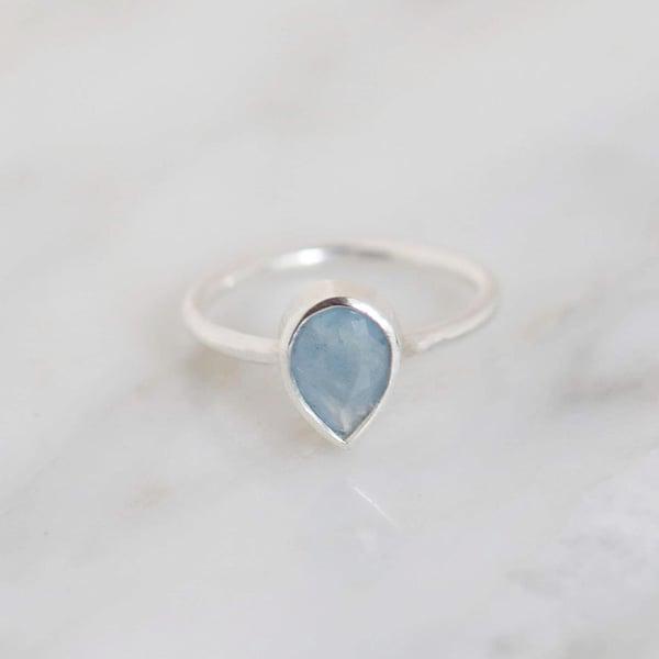 Image of Natural Deep Blue Aquamarine pear cut classic silver ring