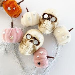 Image of Skull and Velvet Pumpkin Headband