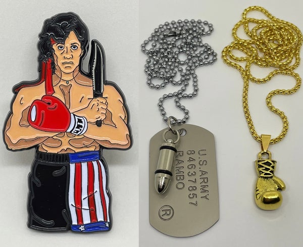 Image of Rambo / Rocky Pin + Boxing Glove / Dog Tag Necklaces (Limited /20 Sets)
