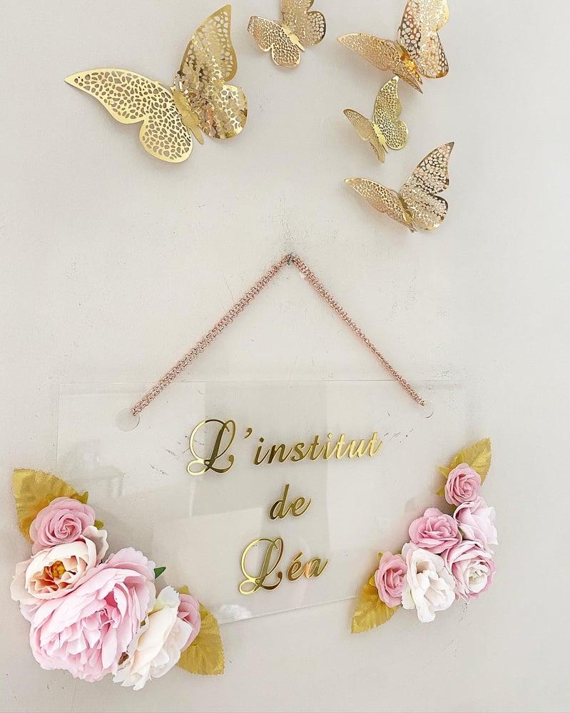 Image of Plaque porte fleurie plexi