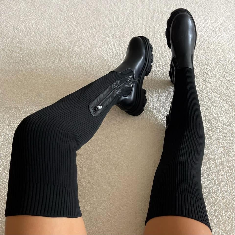 Image of Knitted Thigh High Boots
