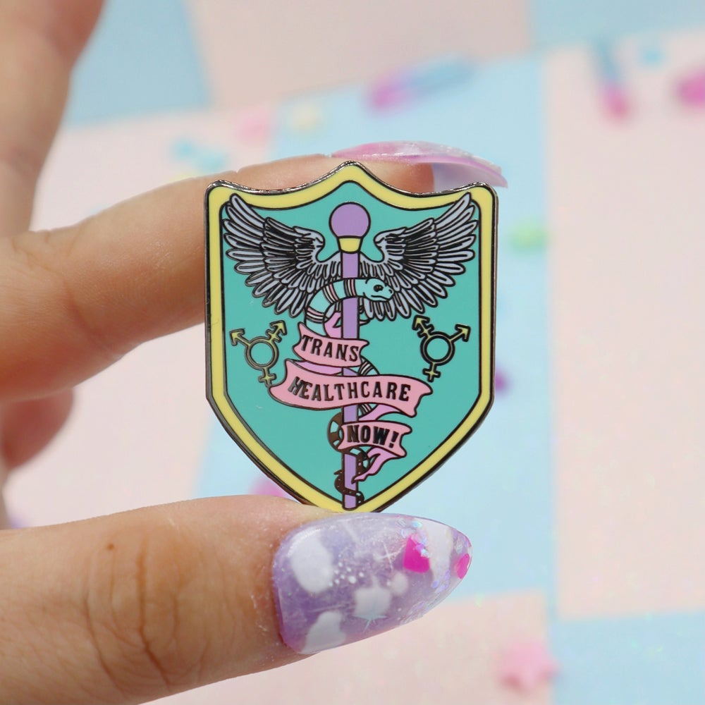 Image of Trans Healthcare Now enamel pin