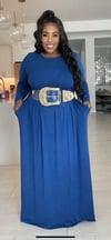 BLUE PLUS SIZE VISCOSE LONG SLEEVE MAXI DRESS.