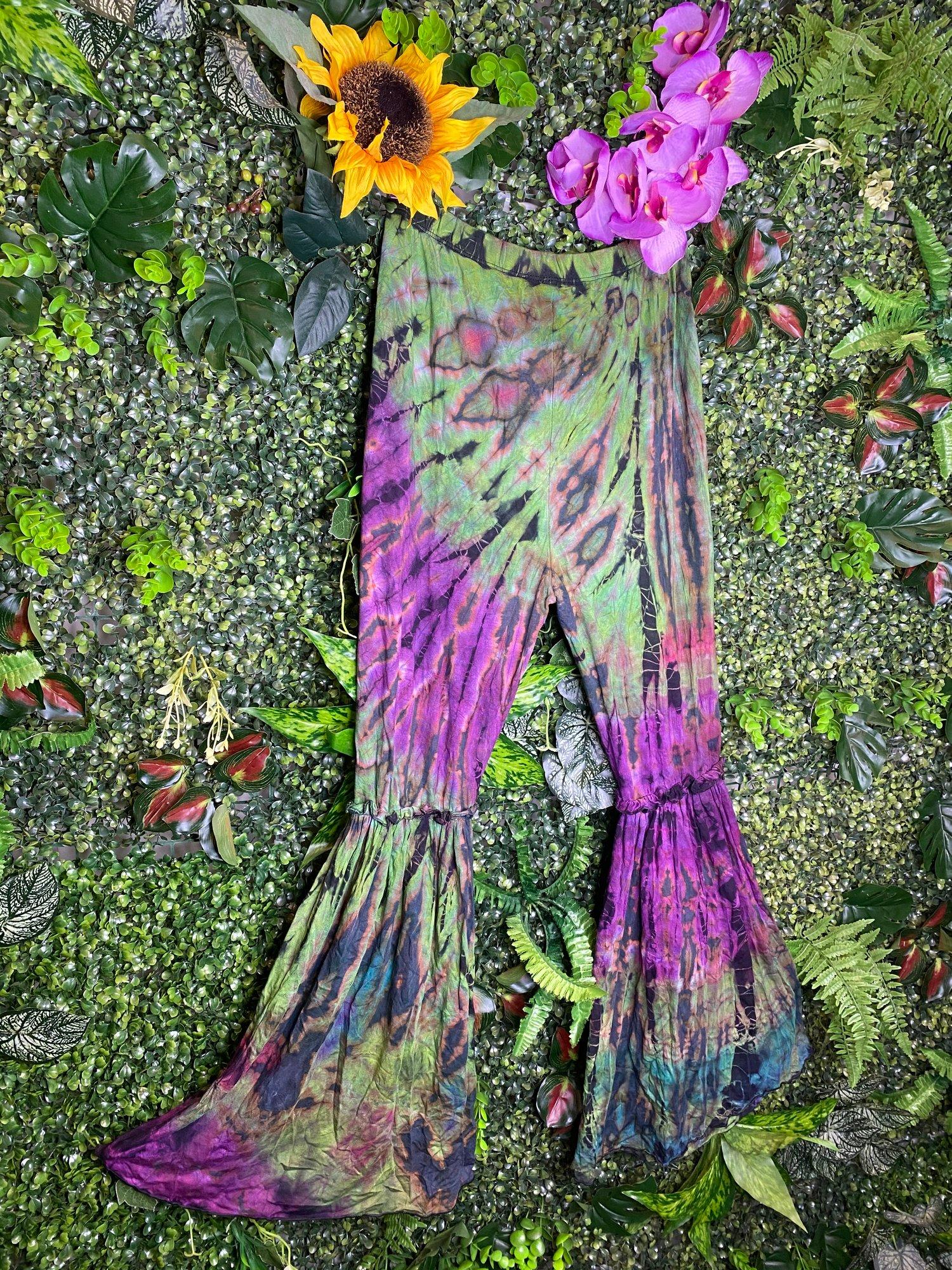 Image of Tie Dye Curve Flares - Positano