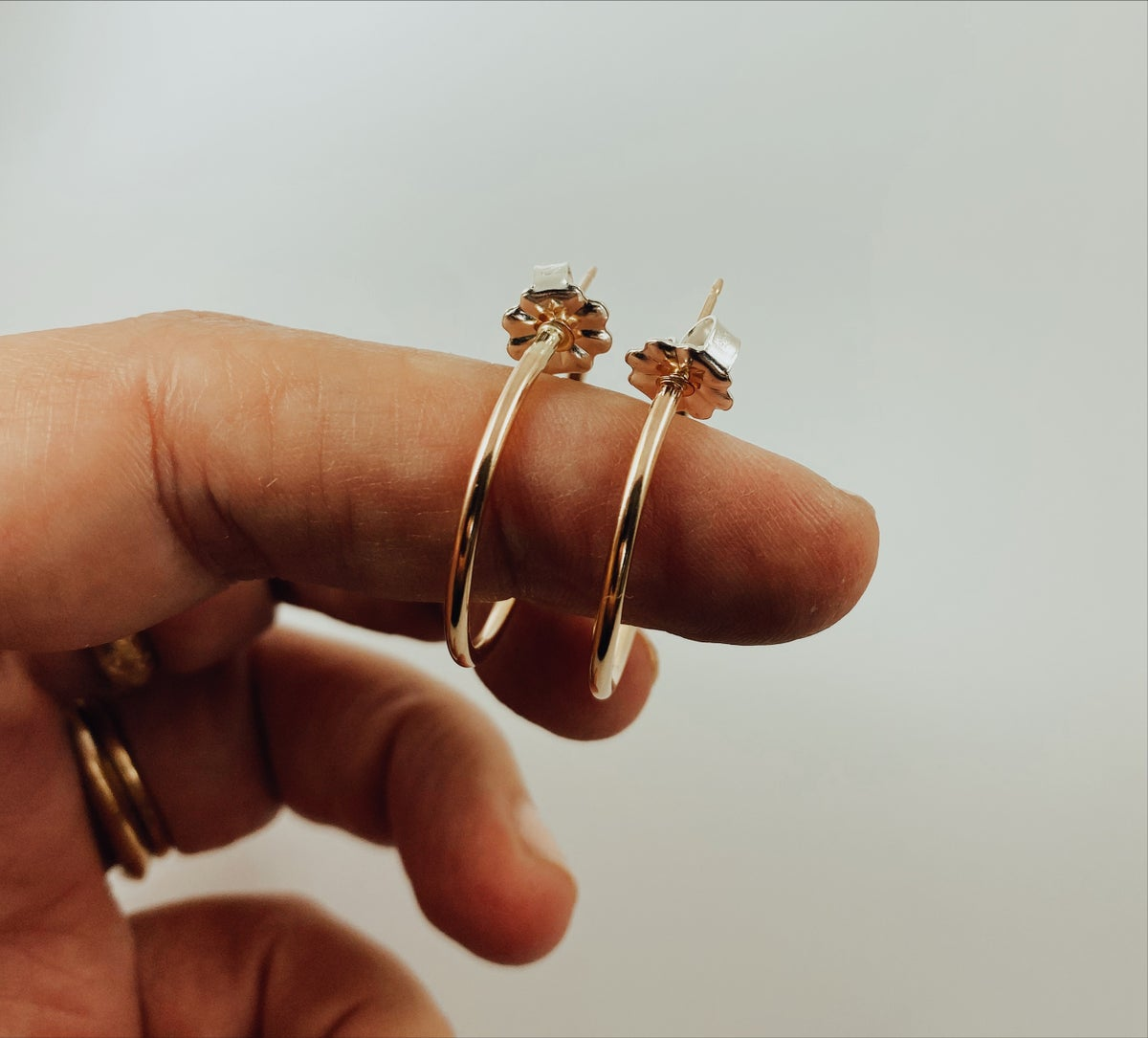 Image of Small 14k Gold Filled Post Hoops