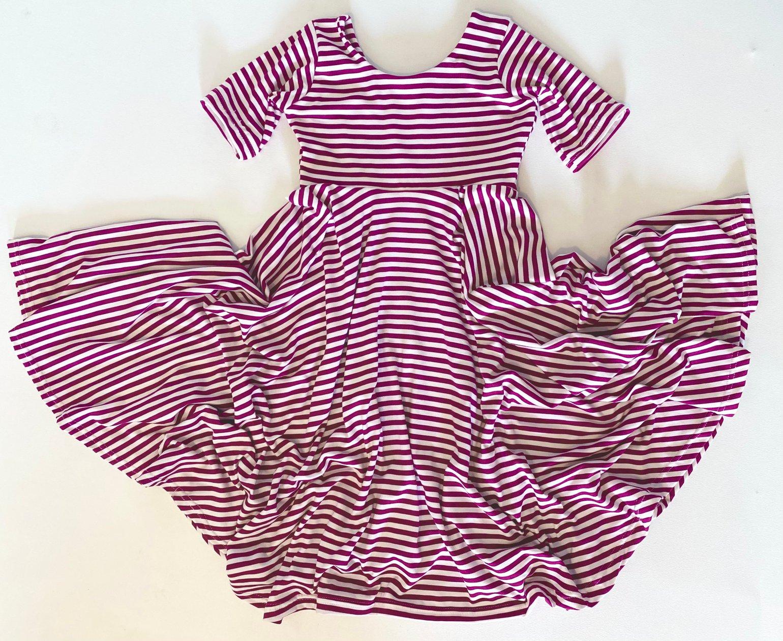 Image of Baby/Girls • Fuchsia Pinstripe • Twirly