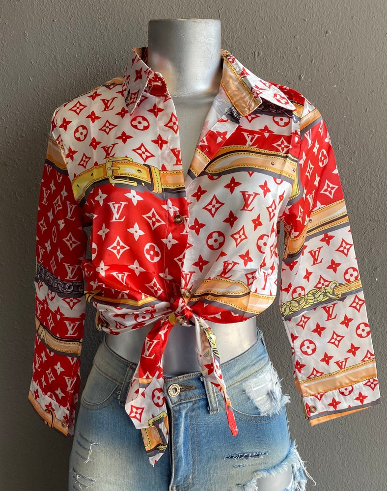 Image of #1211 RED LV INSPIRED BOTTON UP TOP
