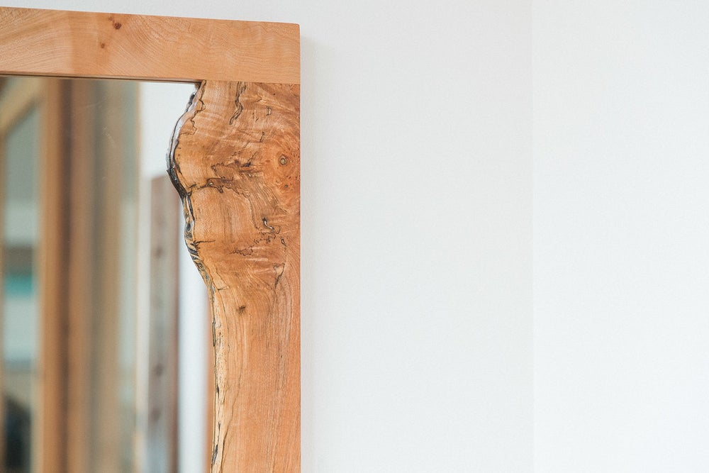 Image of live edge spalted maple mirror
