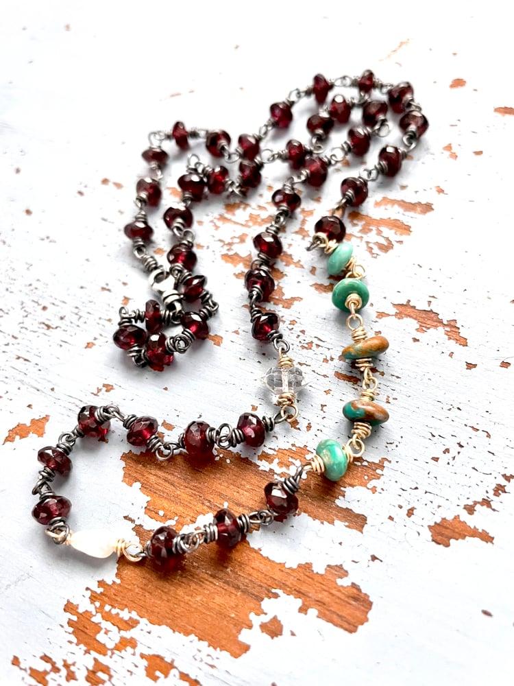 Image of boho garnet and turquoise necklace