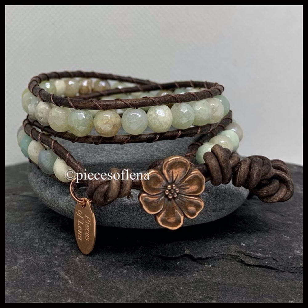Image of DOUBLE WRAP BRACELET - Amazonite Faceted Floral