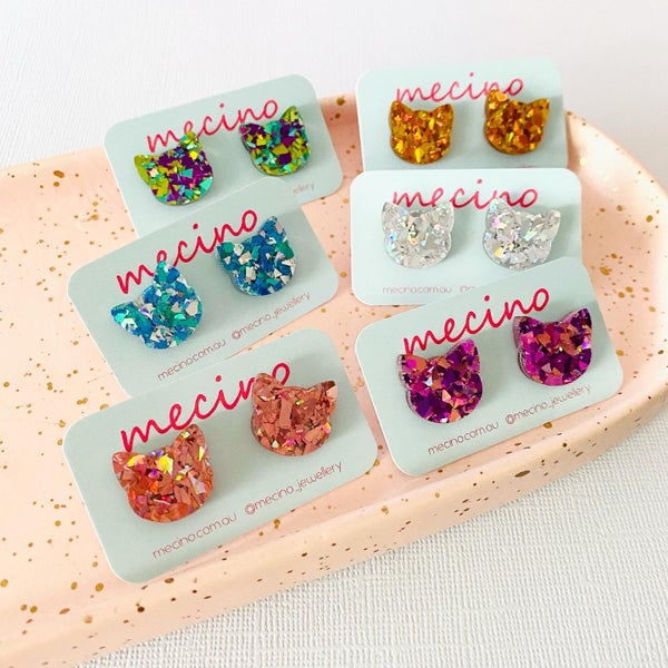 Image of Cat Studs - Glitter Mix