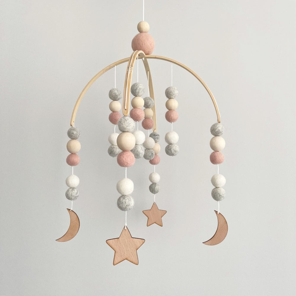 Image of Felt ball mobile - stars and moons (4 colour options)