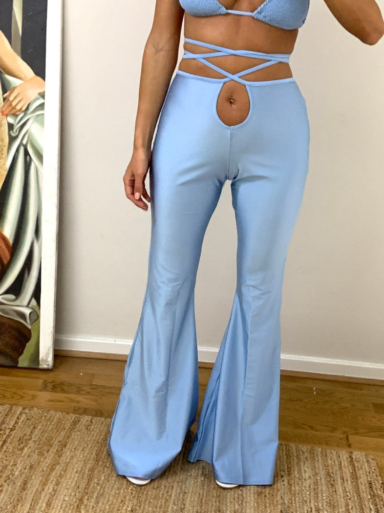 Image of Baby Blue Tie Up Disco Flares