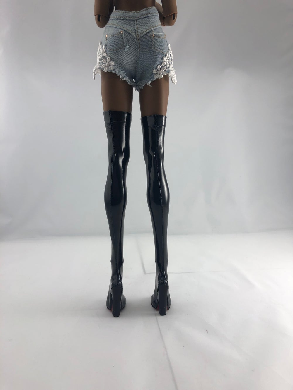 Black Patent Thigh High Boots Red Sole: Pidgin Doll