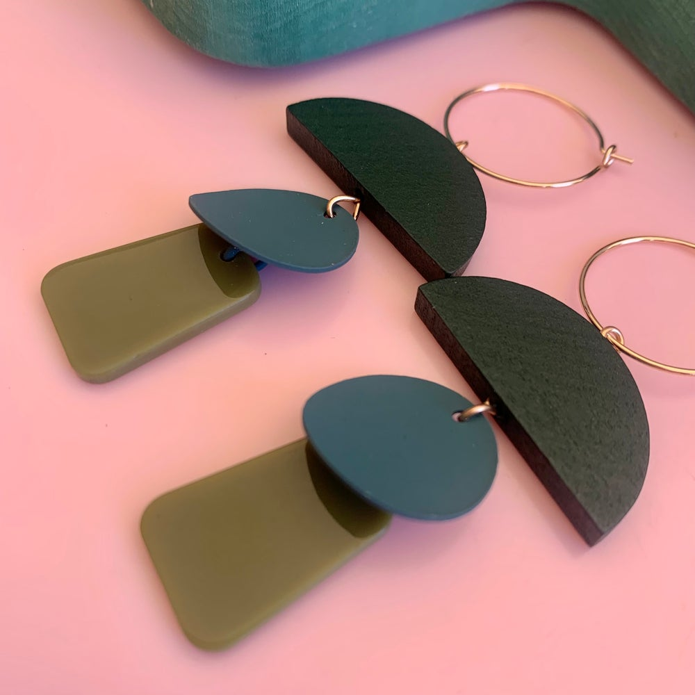 Image of All the greens  -  drop earrings