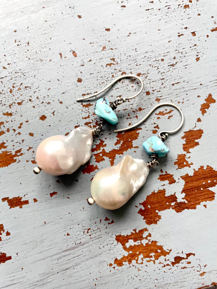 Image of large baroque pearl and Golden Hills turquoise earrings