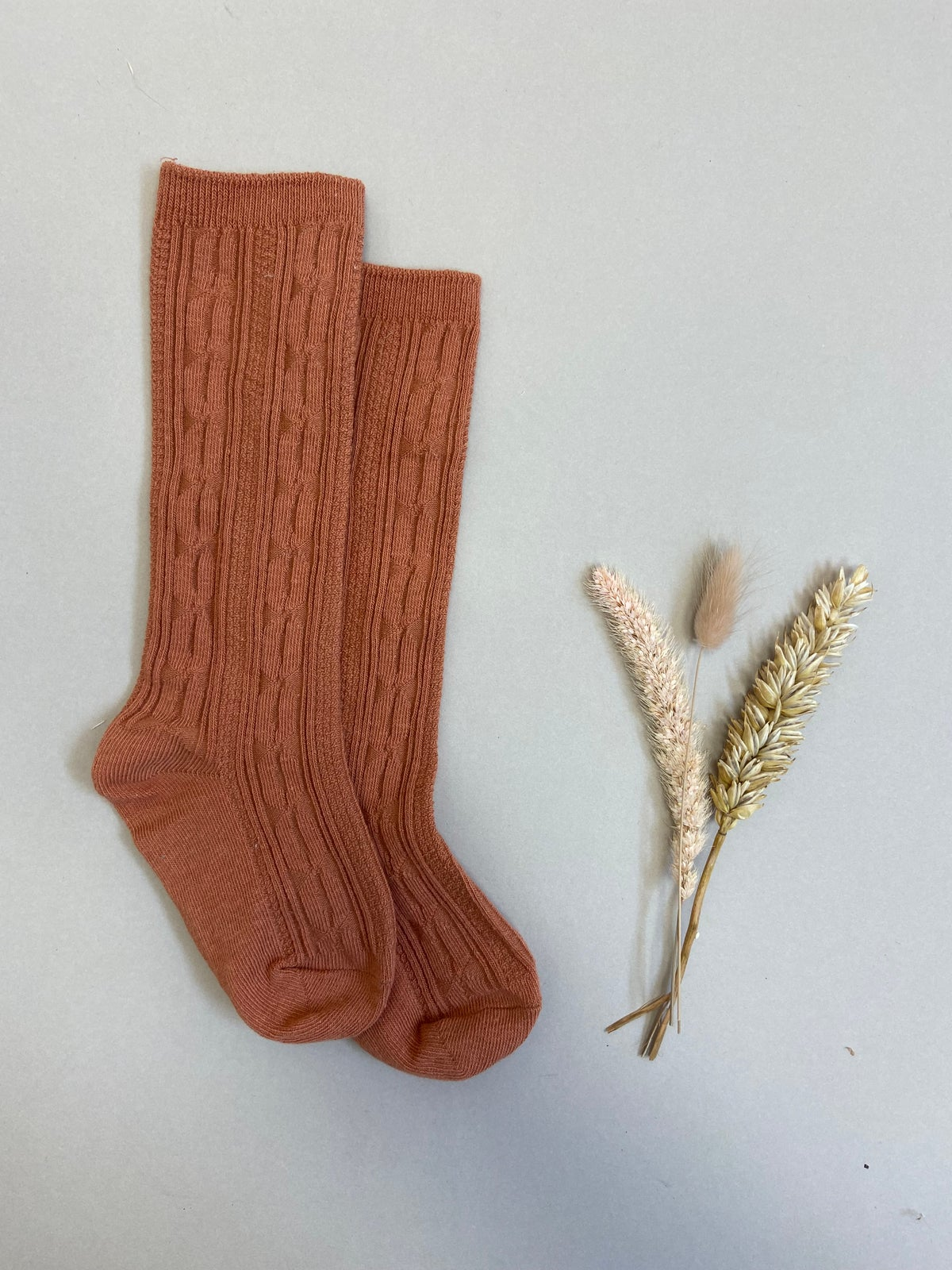 Rust cable knit knee high socks