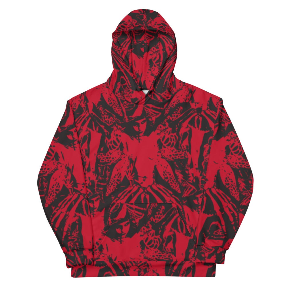 Image of NAMELESS RED ALLOVER HOODIE