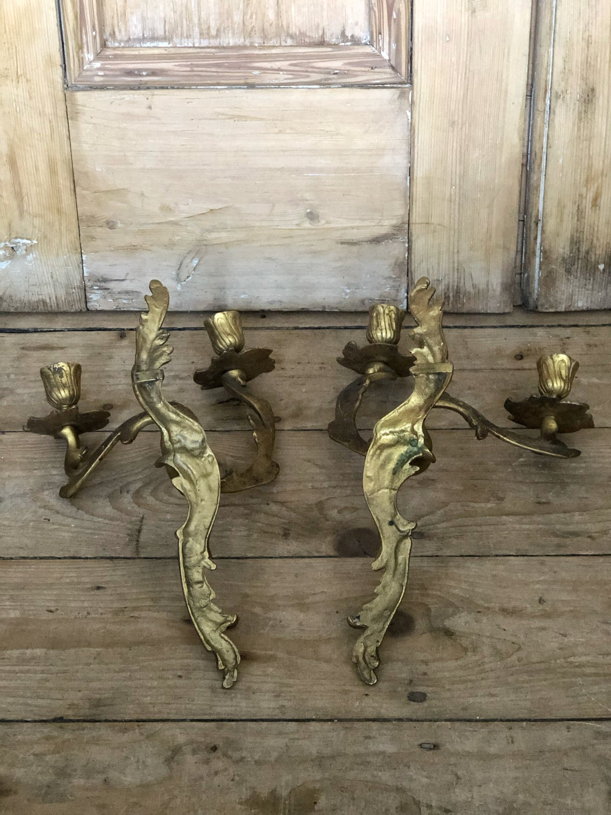 Image of Pair of gilt candle sconces