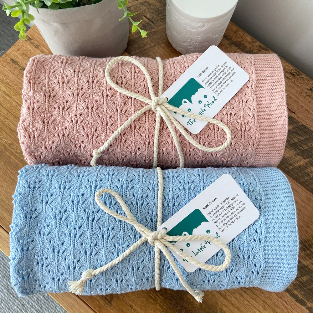 Image of Baby Knitted Blanket - Tulip Design