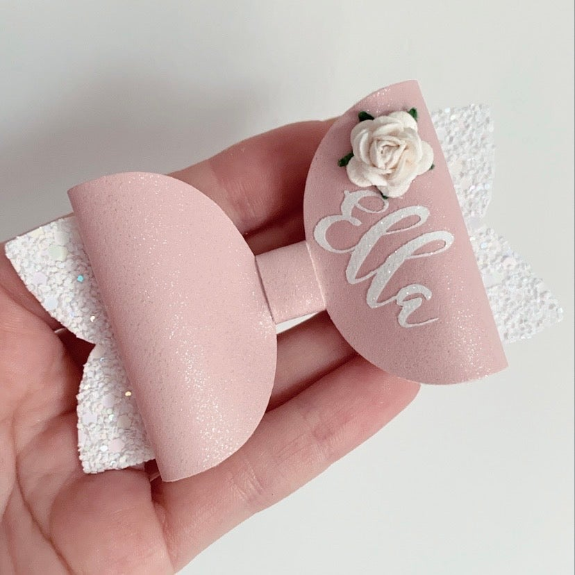 Image of PINK AND WHITE GLITZ ROSE PERSONALISED