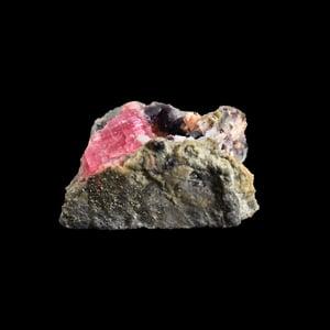 Image of Raw Pink Tourmaline & Violet Lepidolite Mineral with Golden Pyrite, Clear Quartz specimen