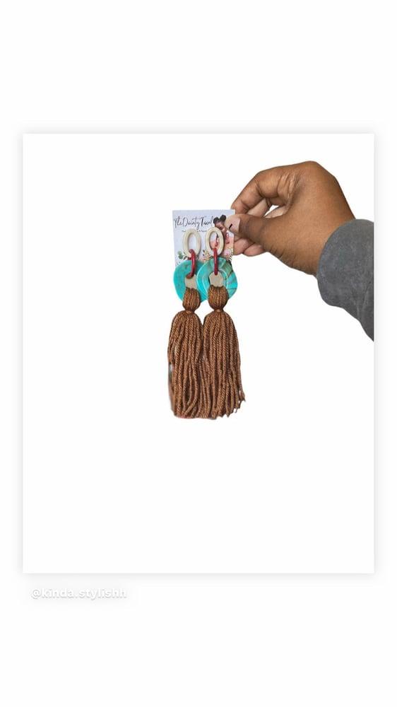 Image of Ovate Tassel Earrings