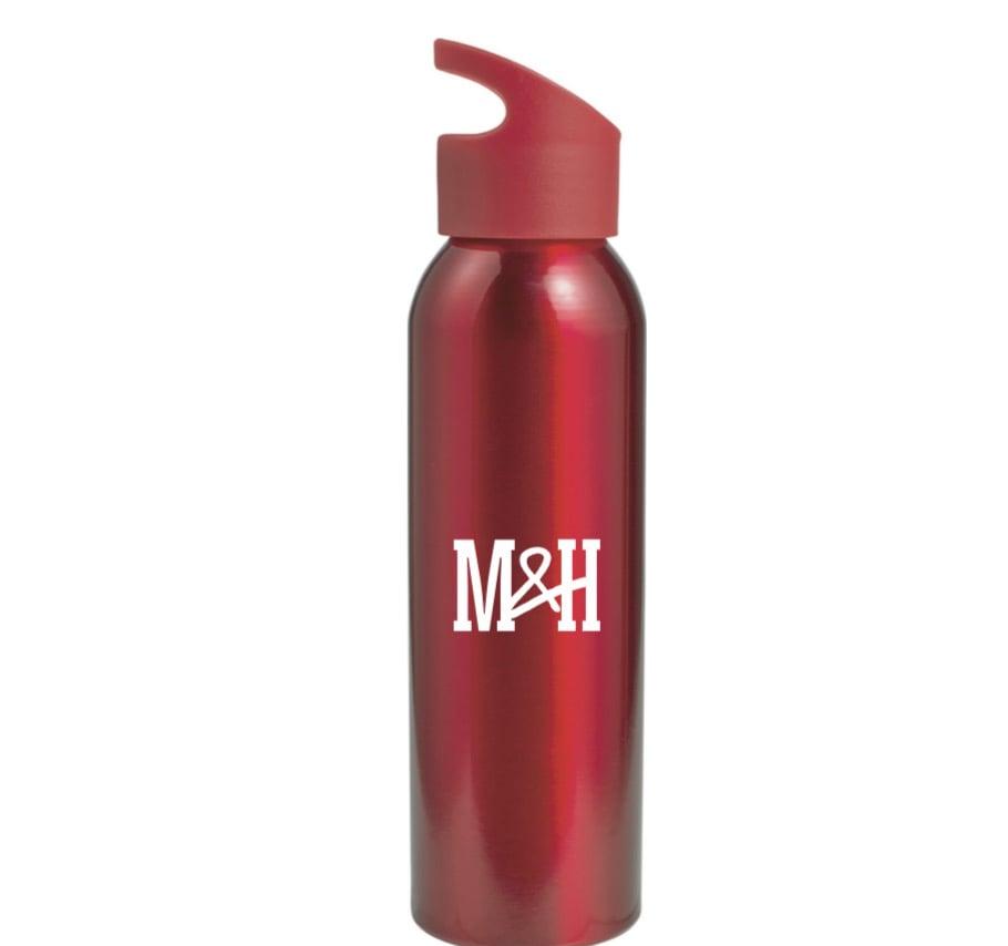 Image of Red metal water bottle