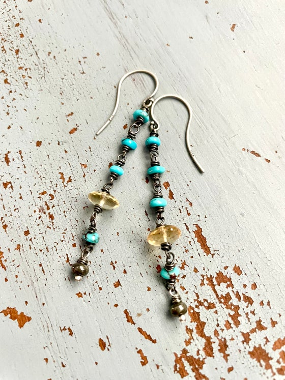 Image of Egyptian turquoise and citrine earrings