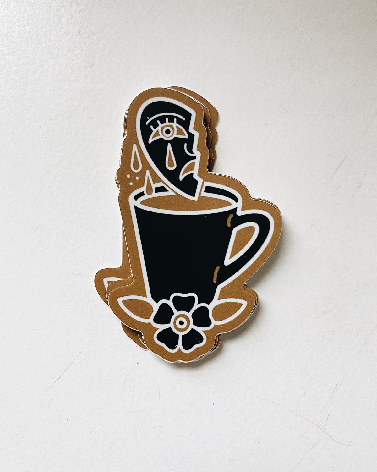 Image of Crying Heart Coffee Cup Sticker
