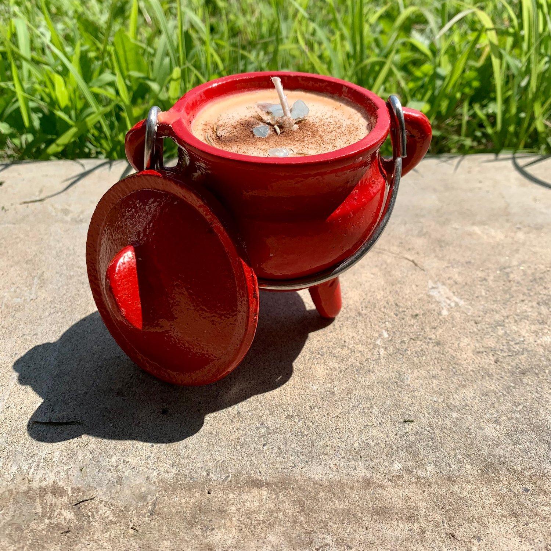 Whiskey Banishing 4 oz Red Cauldron Candle