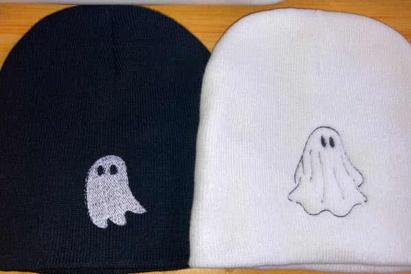 Image of embroidered ghost beanies