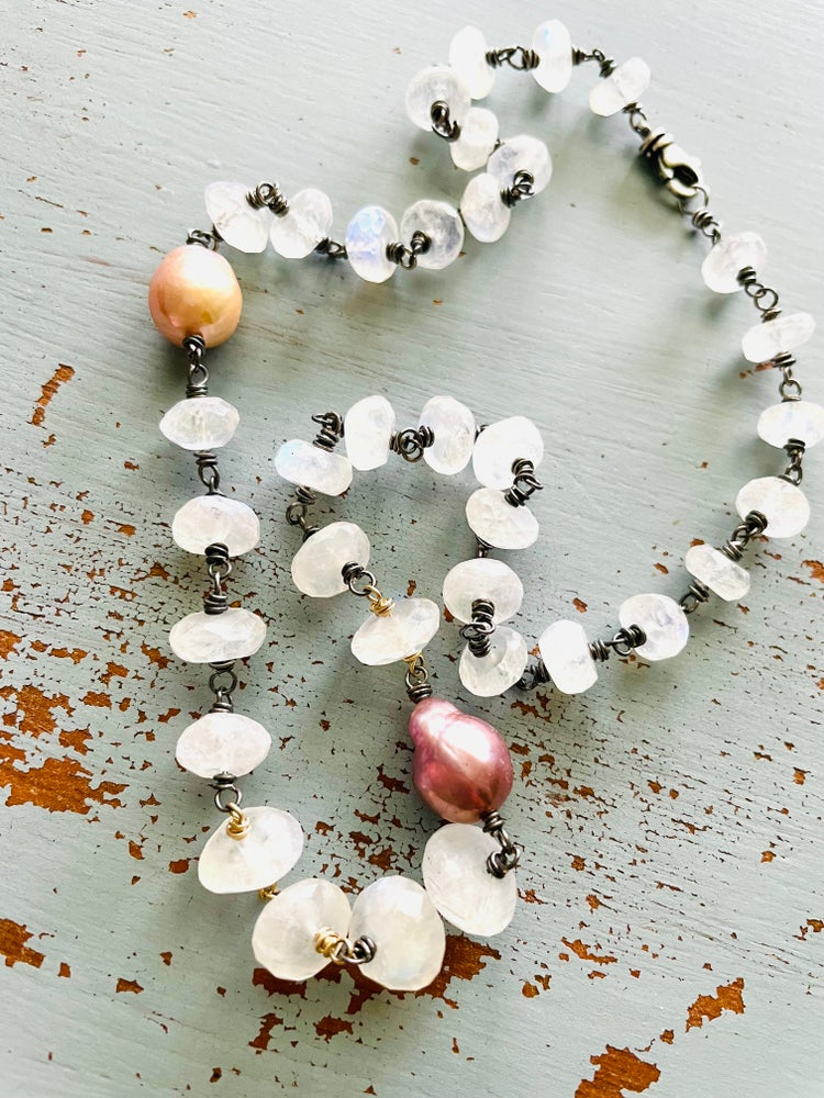 Image of luxe baroque pearl and rainbow moonstone necklace