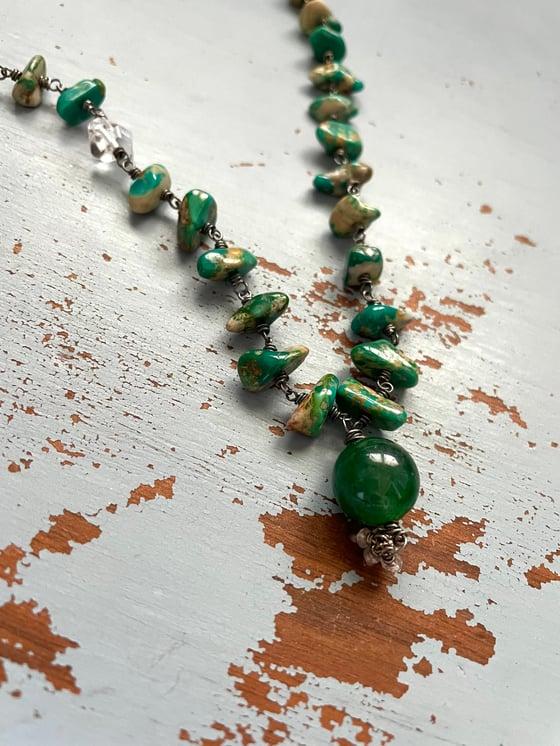 Image of boho turquoise and emerald necklace