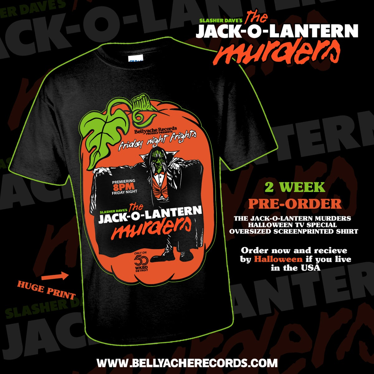 Image of Slasher Dave's The Jack-O-Lantern Murders HALLOWEEN TV SPECIAL AD Shirt ***PRE-ORDER ONLY!***