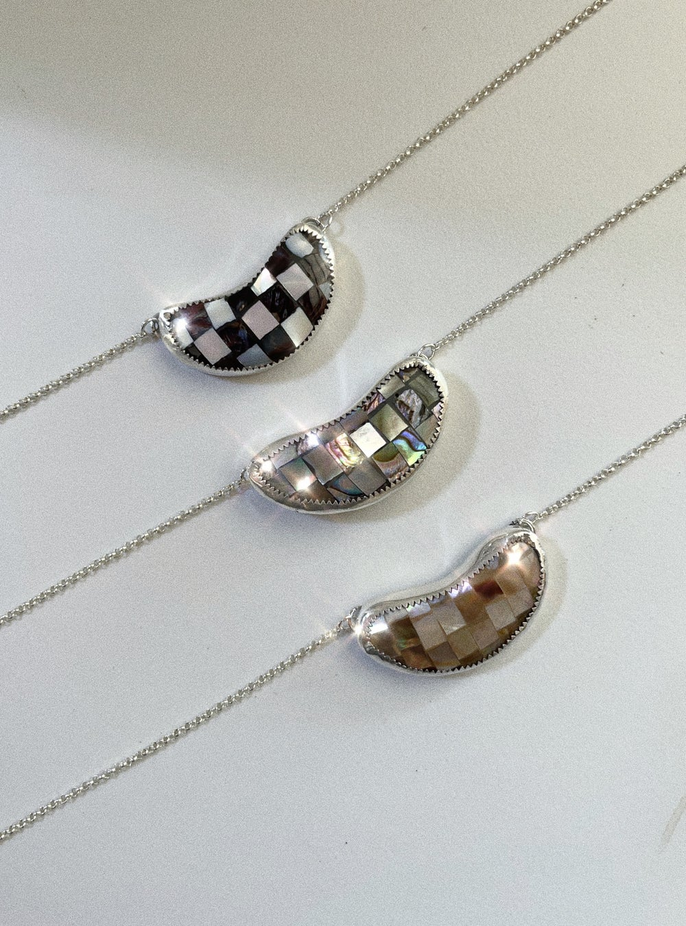 Image of Checkered Crescent Moon Necklace