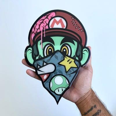 Image of Zombie Mario (resin coated wood print) PRE ORDER (Read description below)