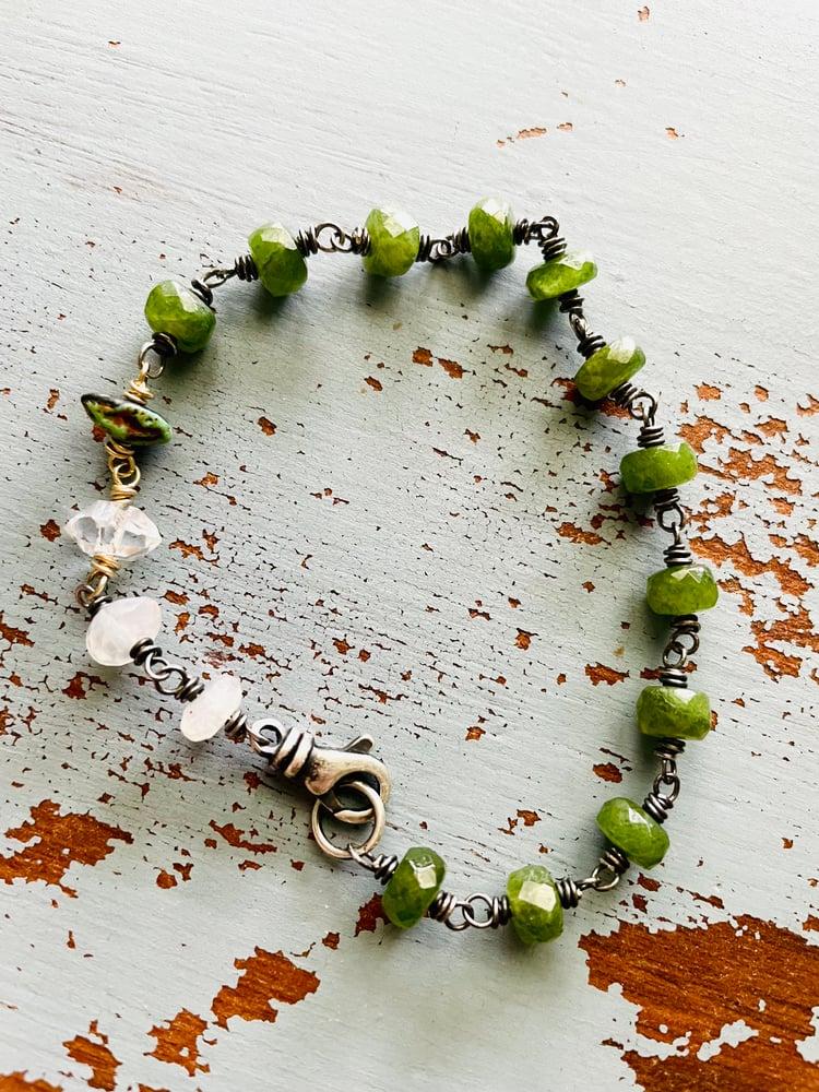Image of vesuvianite bracelet with AAA herkimer diamond