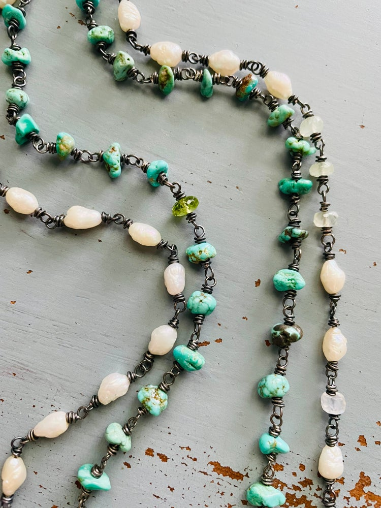 Image of pearl and yellow sapphire necklace
