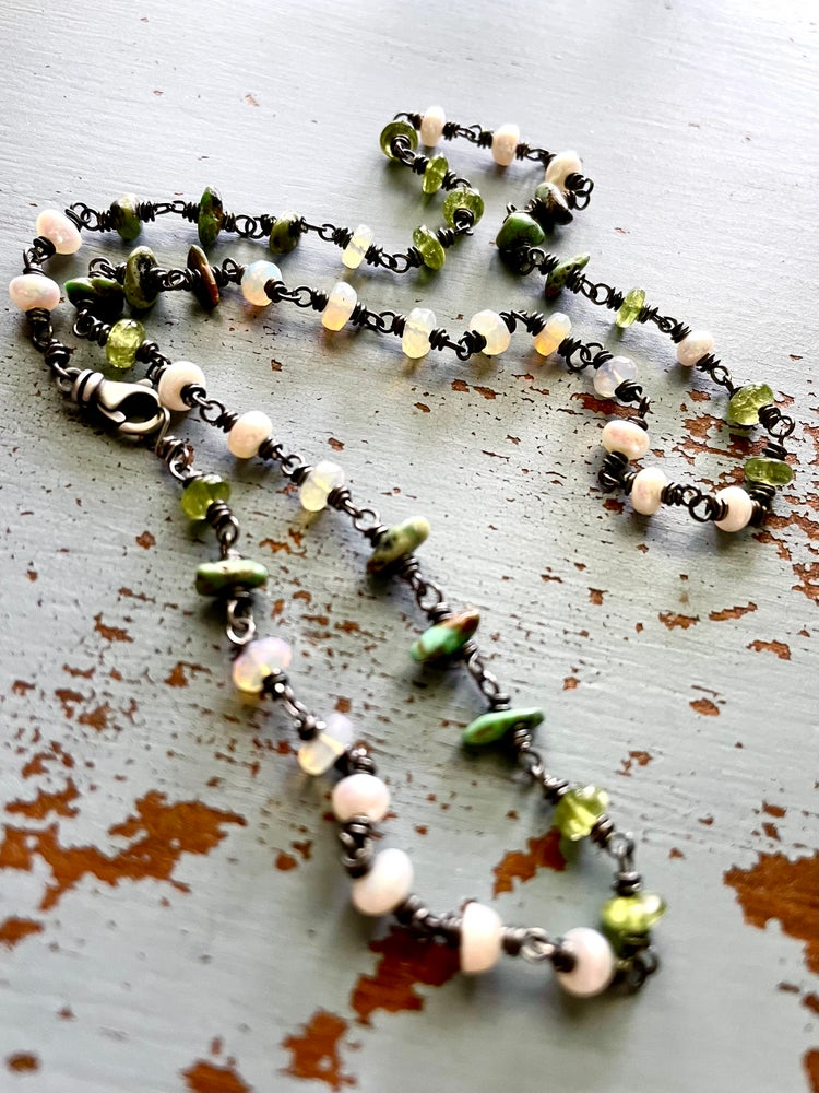 Image of Welo opal, turquoise and pearl necklace