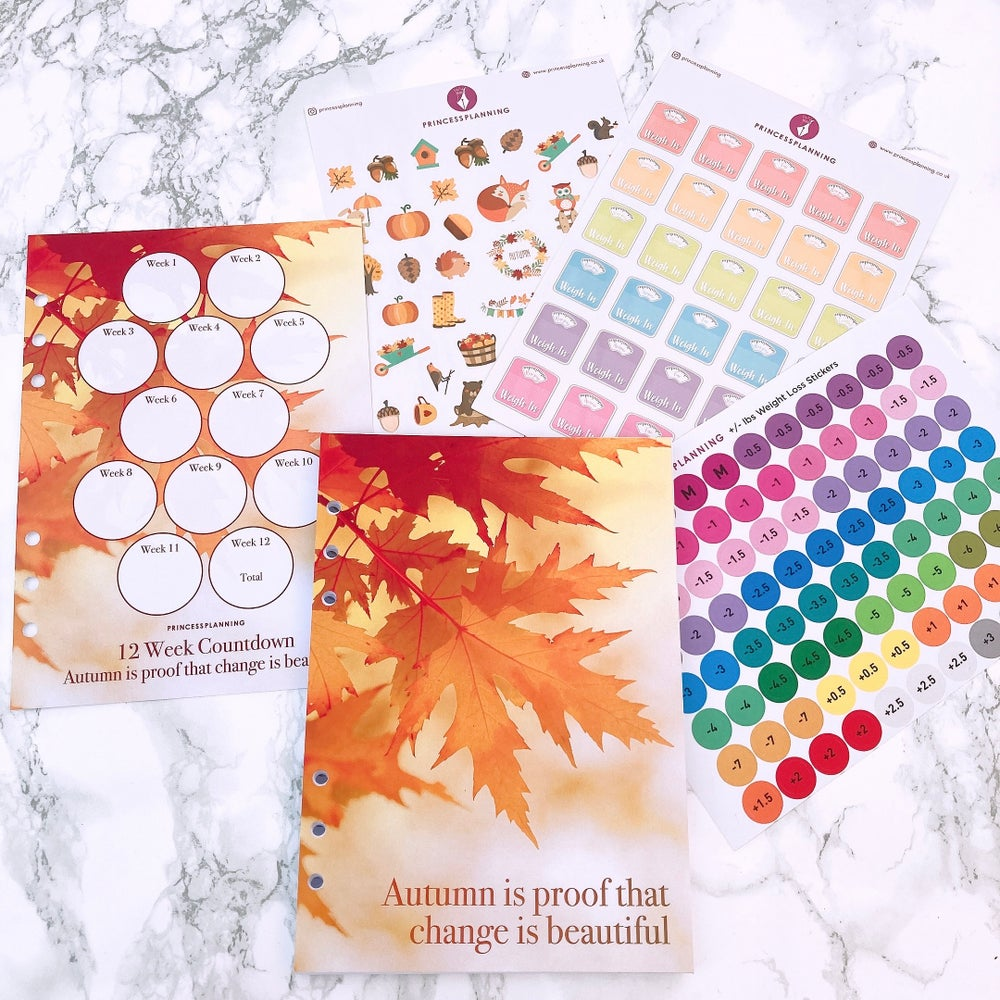 Image of GRANDE PLANNER-12 WEEK FOOD DIARY INSERT BUNDLE -AUTUMN IS THE PROOF THAT CHANGE IS BEAUTIFUL