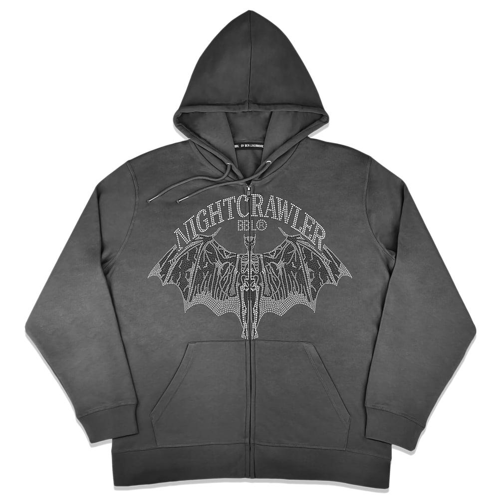 Image of Nightcrawler Studded Zip Up Hoodie (Coal)