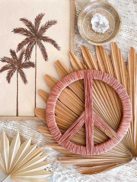 Image of Peachy Dusk Raffia Peace Sign // LIMITED EDITION