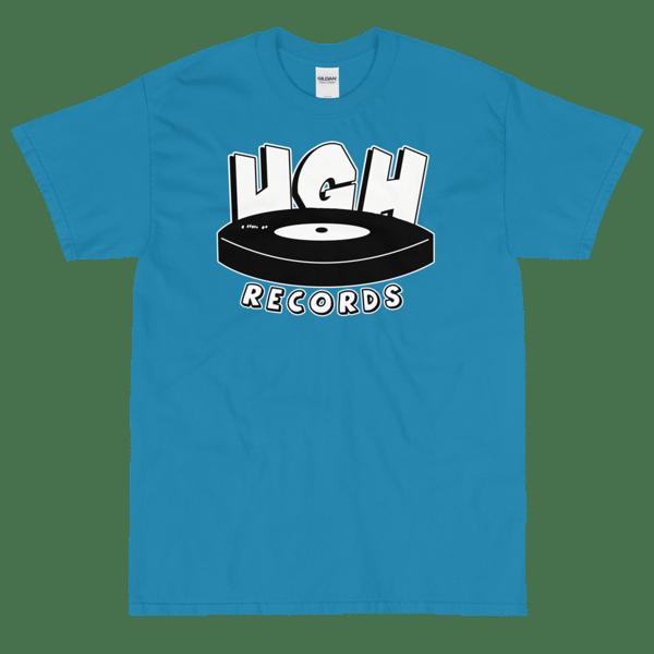 Image of UGH Records UGH73 Vinyl Parody Logo Tee