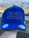 Blue Fitted Flexfit Hat with White SSD Outline Logo