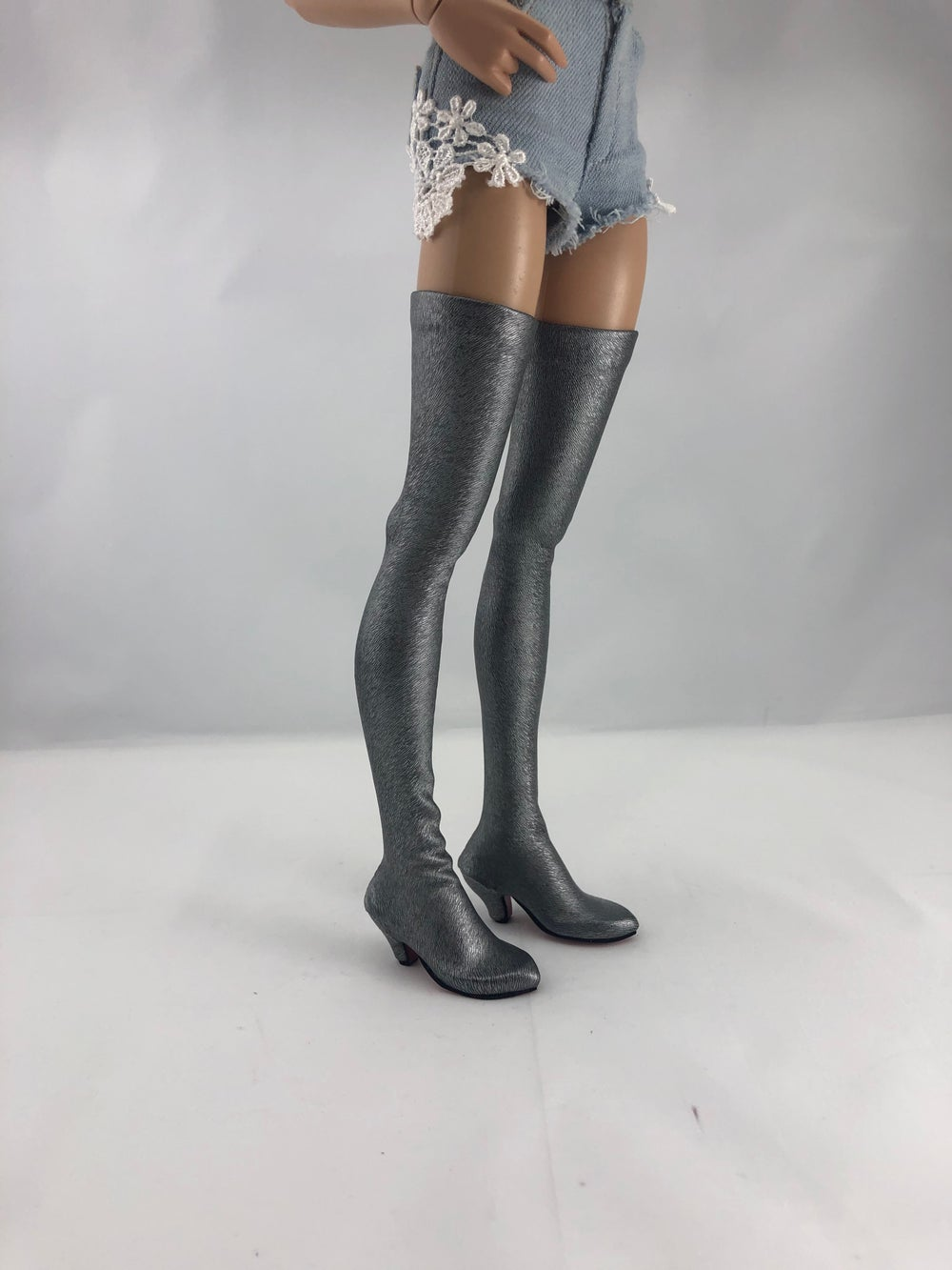 Brushed Silver Thigh High Boots Red Sole: Minifee