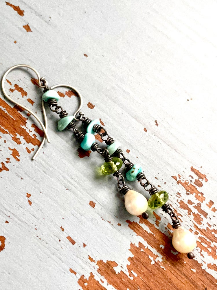 Image of Lone mountain turquoise, peridot and pearl earrings