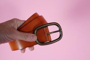 Brass Buckle Tan Leather Belt